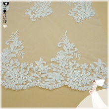 Off White Wedding Lace Embroidery Fabric With Crystal Beads and Scallop Cord Edging Lace fabric DH-BF563