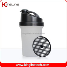 No leaking 500ml plastic shaker bottle with netting with filter maker OEM (KL-7012B)