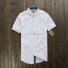 Printed Pattern Classic Fit Mens Casual Shirts 100% Cotton Short Sleeve with one pocket Button Down Collar Shirt For Men