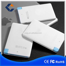 Printing Logo ultra slim credit card 2600 mah power bank with build in cable