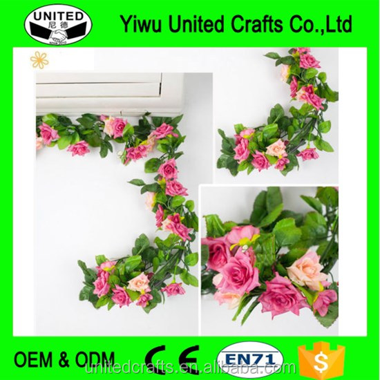 Artificial Fake Silk Rose Leaf Flower Plant Rattan Vine Ivy For Arches Decor