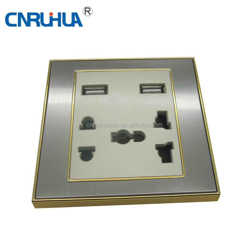 Manufacutre High Quality africa manufacturer 5 way wall electrical switched usb wall socket