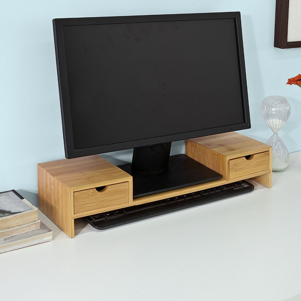 Bamboo Monitor Stand Riser with 2 Desktop Drawer Organizer