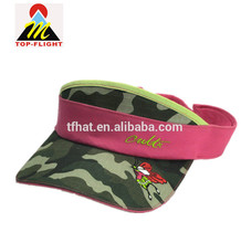 2017 top quality outdoor sun visor cap Camo flat embroidery custom factory price camouflage sun visor cap