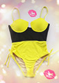 Hot sale! Lady's sexy bright color one piece swimwear in fashion design!