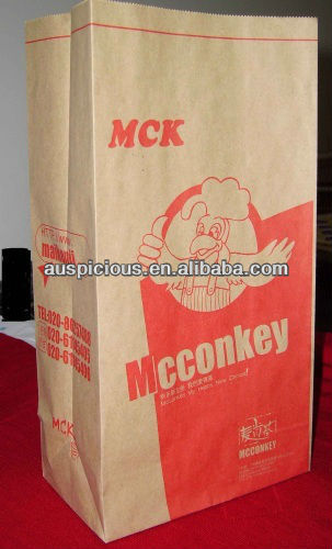 Fried chicken microwave heating brown kraft paper bag