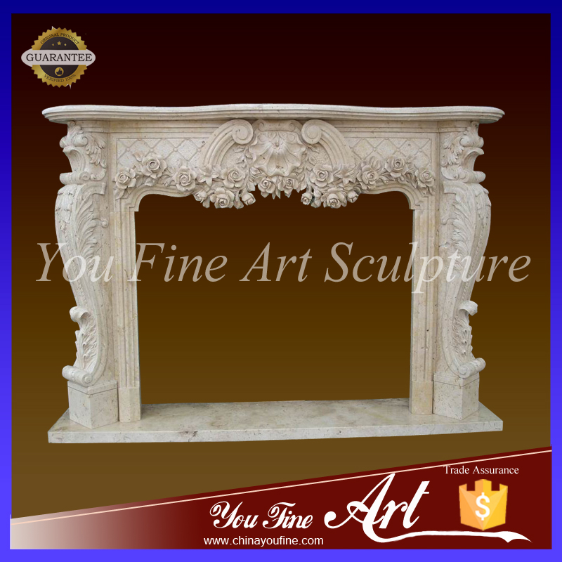 Western travertine floral fireplace with surround