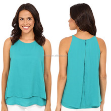 Custom Apparel Woman Clothing 100% Polyester Sleeveless Boxy High Neck Draped Top latest Blouse Fesigns With Layered Look