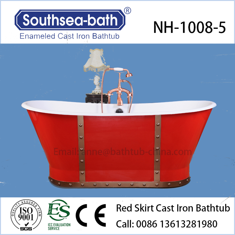 China good price Red skirt cast iron bathtub with ICC-ES certificate