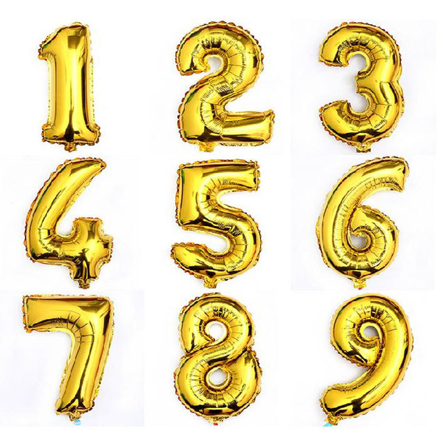 30 Inch Large Size Shining Gold Number Foil Balloons Birthday Wedding Party Christmas Decoration Kids Toy