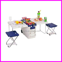 Picnic camping cooler ice chest small table and 2 chairs and on wheels