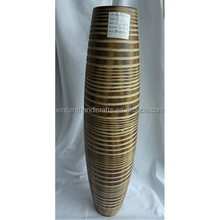 China manufacture wholesale tall floor oblong design carved ring wooden flower vase