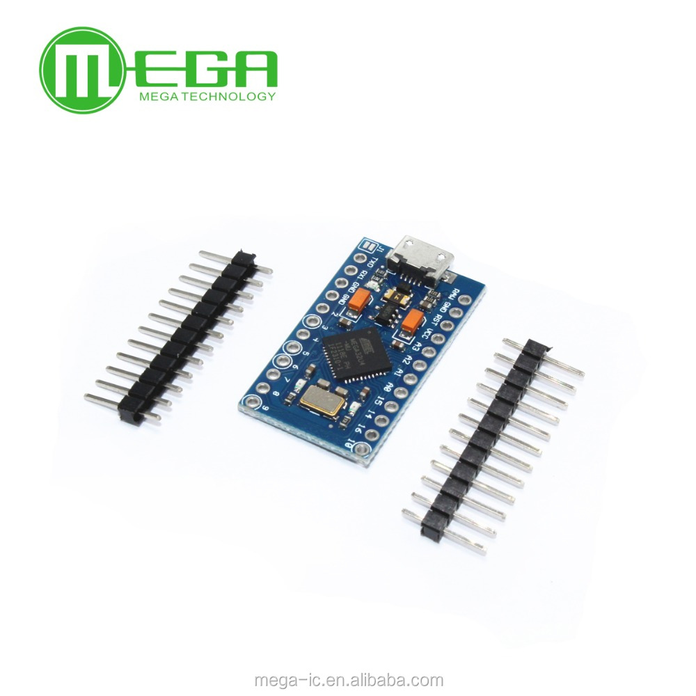 Free Shipping New 2pcs/lot Pro Micro ATmega32U4 5V/16MHz Module with 2 row pin header Leonardo best quality