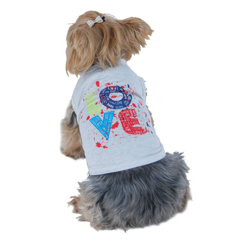 "Dog Gray stylish designed "" LOVE "" Cotton Pet T-shirts"