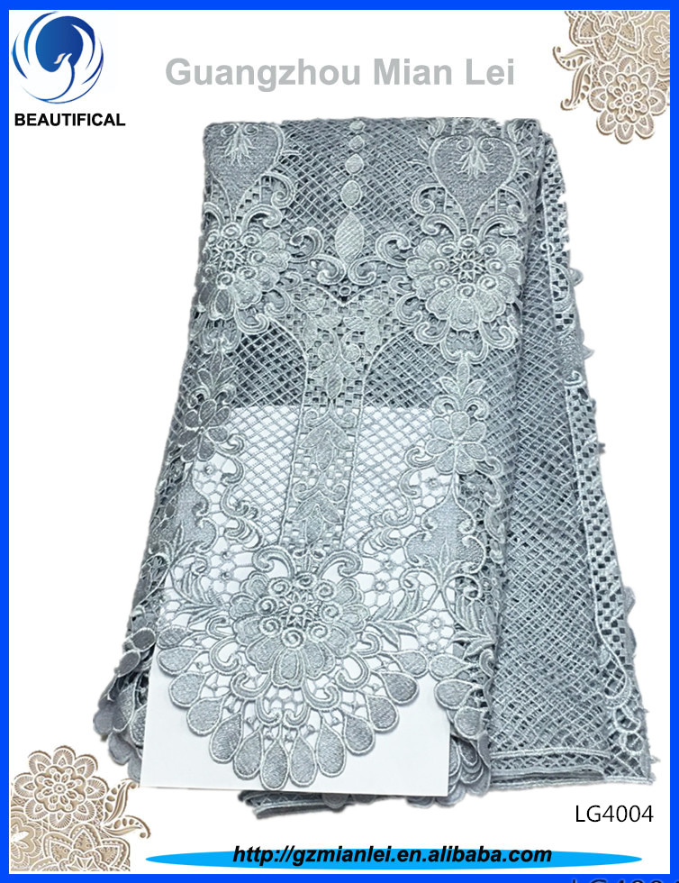 Wholesale wedding guipure lace fabric embroidery guipure cord lace with <strong>12</strong> color LG40