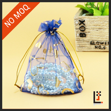 Wholesale Customized Logo Drawstring 13*18cm Heart Printed Organza Gift Bags