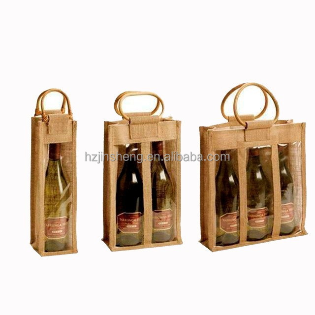 fabric gift jute wine bags with clear pvc window tote