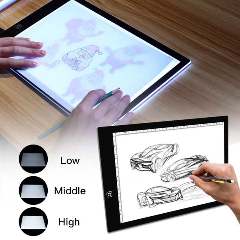 Best Portable USB A4 LED Art Craft Copyboard Scale Drawing Light Box Adjustable Ultra-thin Tattoo Stencil Tracing Light Pad