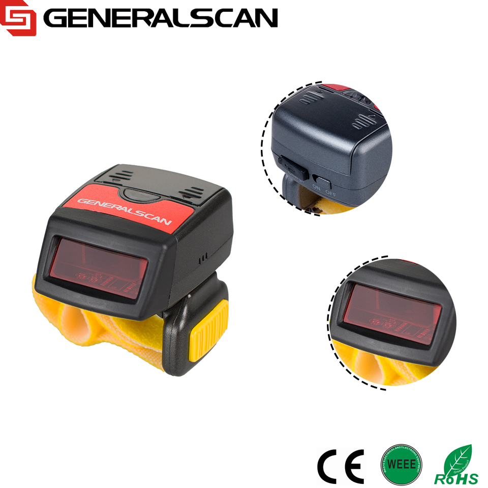 Hot SaleGeneralscan GS R1000BT 1D Laser Wireless <strong>Bluetooth</strong>/USB Wearable Ring Barcode Scanner