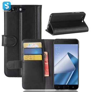 hot sell genuine leather with card slot wallet for asus zenfone 4 pro phone case cover