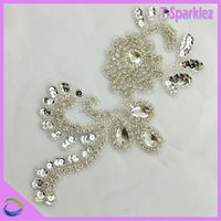 Wedding Dress Handmade Accessories Rhinestone Patches Sew on