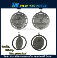 Folk Art enamel metal medal holder, custom spinner medal with ribbon