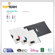 Office stationery plastic PP A4 hard cover clip folder, Fast-clamp white plastic swing clip file