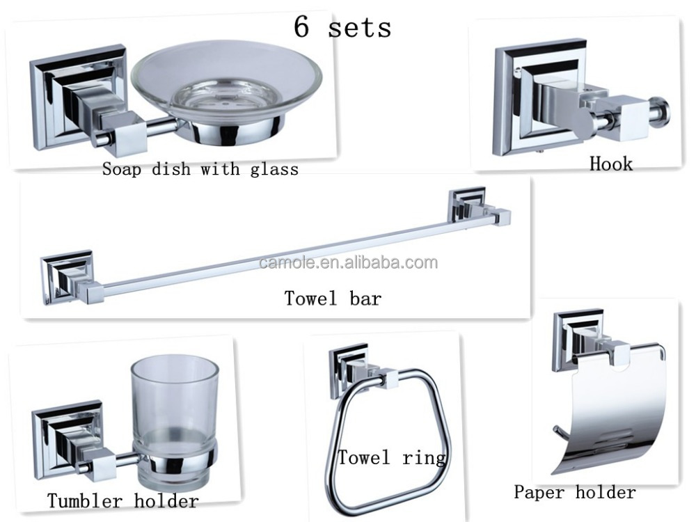 New modern design 6pcs zinc chrome square bathroom accessory set