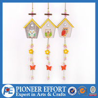 Wooden House with colorful Owl Hanging Ornament for Spring Decoration