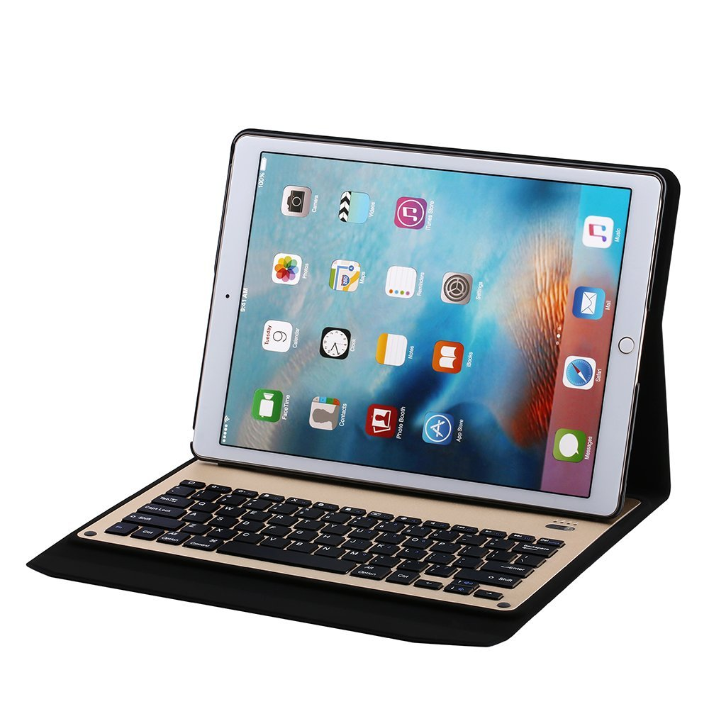 Ultra-thin aluminum Bluetooth Keyboard Portfolio Case for Apple ipad pro 12.9 inch tablet, Gold