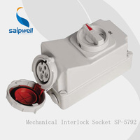 Saipwell IP67 CEE/IEC 400V 4P 3H 32 Amps Industrial Socket, Reefer Containers Industrial Plug and Socket