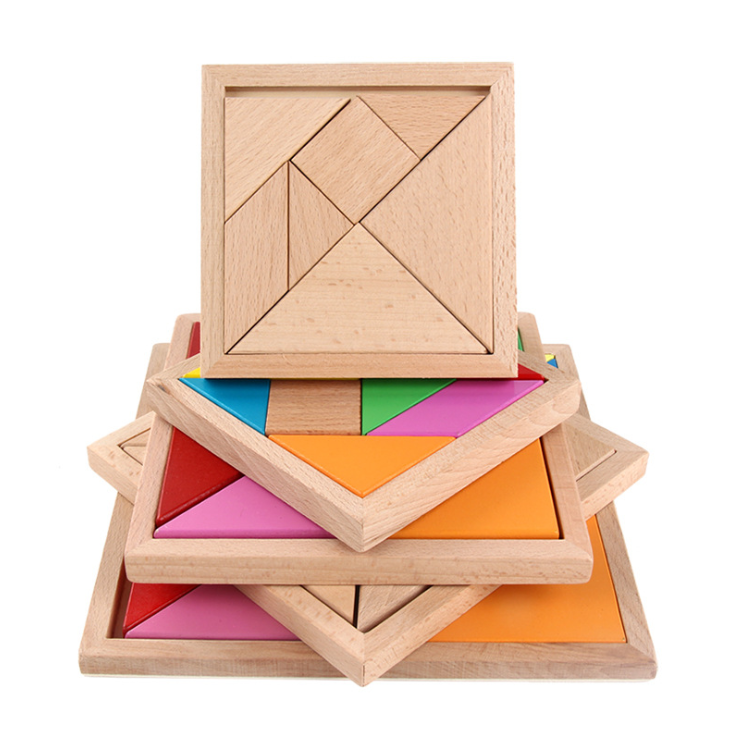 2019 Toys Kids Free Sample Custom Colorful Tangram Wooden Tangram Puzzle