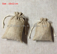 Wholesale 10*13cm Cotton Christmas Wedding Gift Bag Jewelry Pouch Cloth Linen Flax Fabric Packaging With Drawstring Burlap Bag