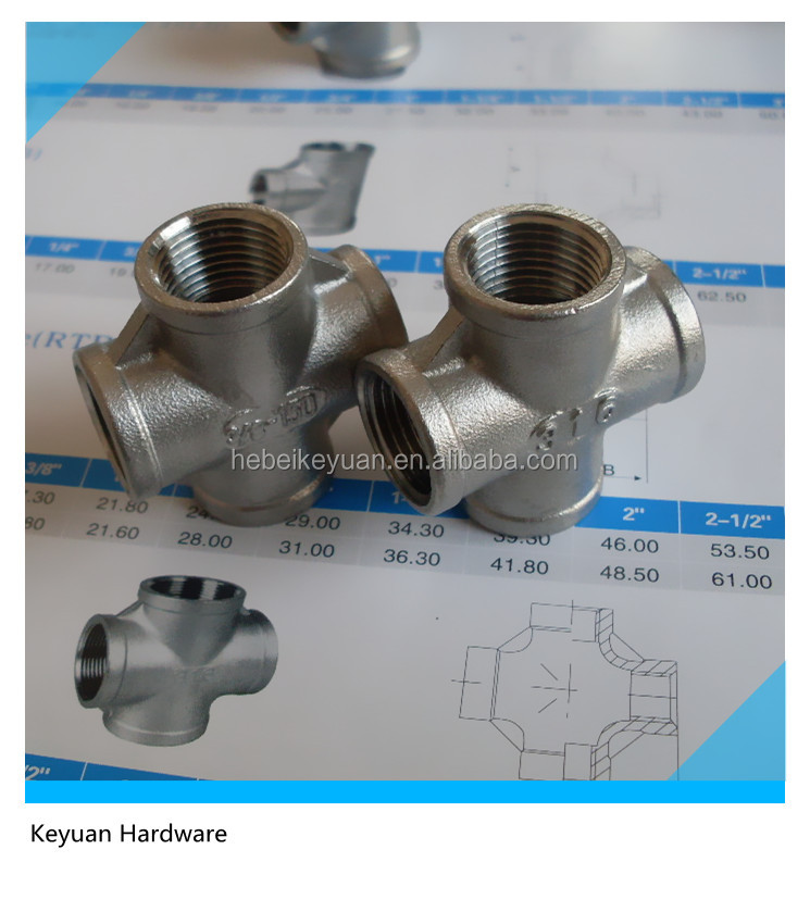 Stainless Steel Screwed Pipe Fitting Equal Four Way Cross Tee Connector