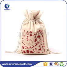 Eco cotton canvas christmas drawstring gift pouch with custom printing