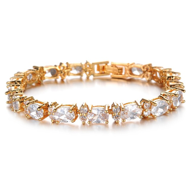 Women's Copper 18K Gold Plated White Inlaid CZ Tennis Fashion Charm Bracelet Jewelry Designs for Girls