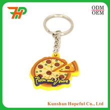 custom key chains,keyring Type promotional pizza keychain