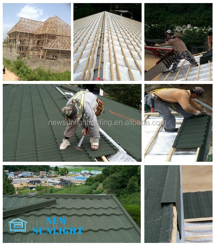 heat insulate corrugated galvanized zinc stone coated metal roof tile
