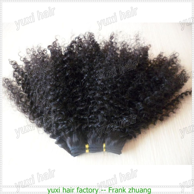 Cheapest price natural Virgin mongolian kinky curly hair weave 4a