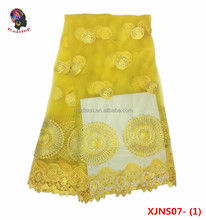 Wholesale African french yellow tulle lace with stones/lace africa/china fabric market wholesale lace XJNS07-1