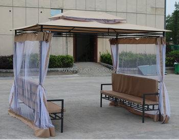 new style garden pavillion tent two seater waterproof wrought iron gazebo with mosquito sidewall