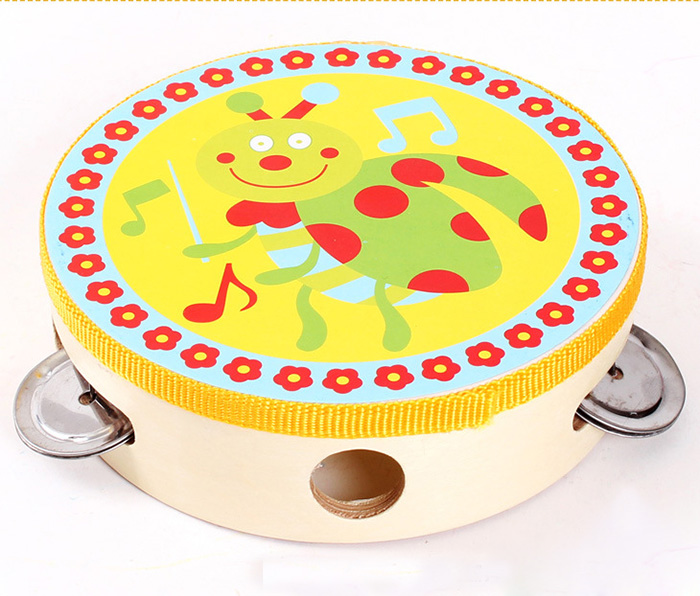 Orff Hand Held Tambourine Drum Bell Birch Metal Percussion Musical Educational Toy Instrument