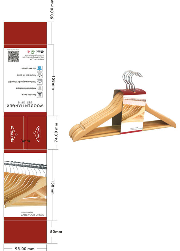 Assessed Supplier LINDON Display Carton Packing wooden clothes hangers with 264pcs