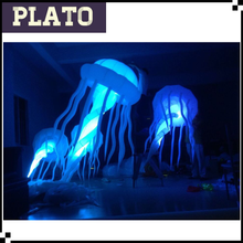 Wholesale 2m lighted inflatable jellyfish, oxford cloth hang inflatable LED jellyfish balloon for festivals