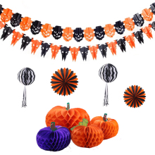 Halloween hanging paper honeycomb decoration set for party