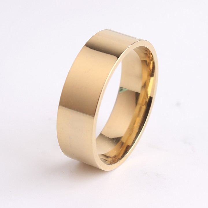 8mm 18K gold plated Smooth flat angle 316L Stainless Steel finger rings for men women jewelry wholesale+