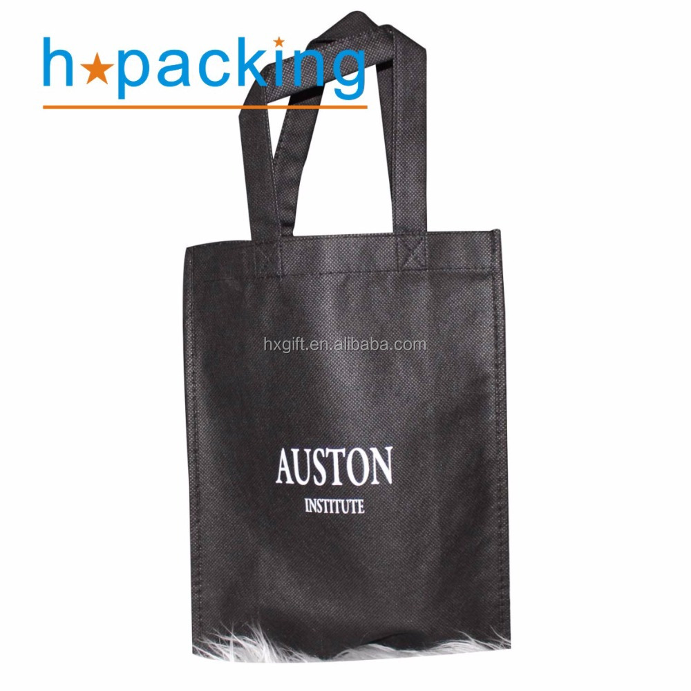 Black Color Non Woven Bags With White Logo Printing