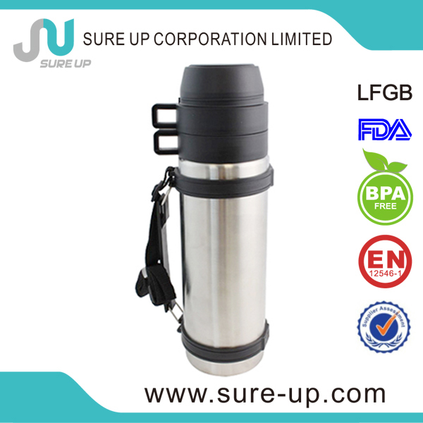 Arabic coffee pot stainless sport vacuum flask with double cups(FSUG)