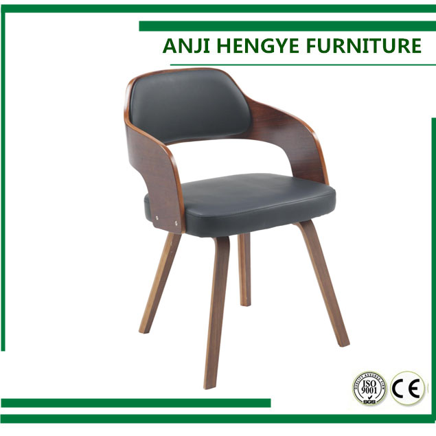 Modern PU leather wooden leg dining chair