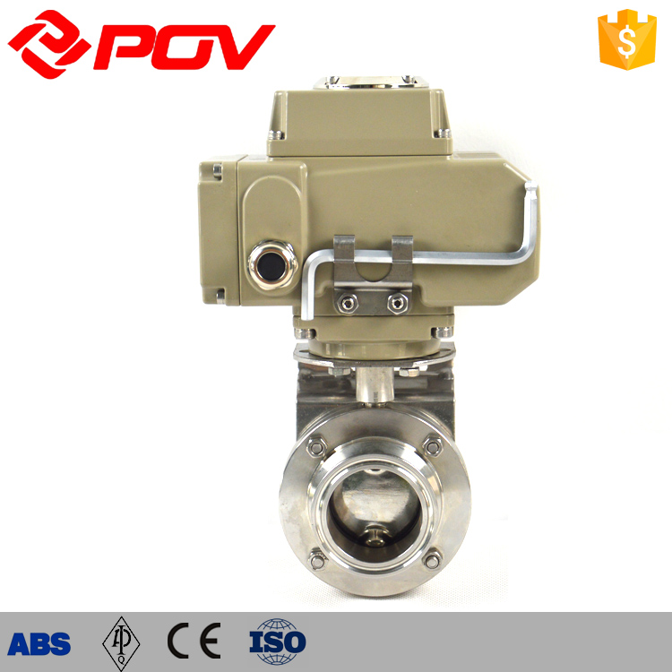 DN80 ss304 clamp sanitary butterfly valve with electric actuator